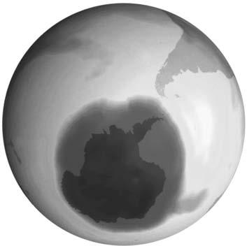 weltkugel mit ozonloch