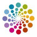 Logo des Multiplikatorenprogramms, eine Spirale mit bunten Punkten
